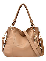 cheap -Women's Zipper PU Top Handle Bag Solid Color Black / Brown / White