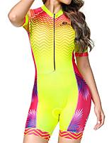 Недорогие -BOESTALK Цветочные ботанический Жен. С короткими рукавами Костюм для триатлона - Красный / желтый Велоспорт троеборье Дышащий Влагоотводящие Быстровысыхающий Виды спорта Спандекс / Эластичная