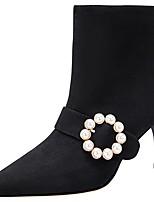 Недорогие -Жен. Ботинки На шпильке Заостренный носок Замша Зима Черный