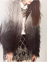 Недорогие -Жен. Повседневные Обычная Искусственное меховое пальто, Контрастных цветов Круглый вырез Длинный рукав Искусственный мех Белый