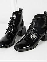 Недорогие -Жен. Ботинки На толстом каблуке Круглый носок Полиуретан Ботинки Весна & осень Черный