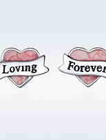 Недорогие -disiniya настоящее стерлингового серебра 925 в форме сердца лента розовая эмаль женские серьги-гвоздики для женщин подарок на ювелирные изделия из стерлингового серебра sce177