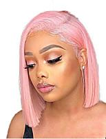 Недорогие -Синтетические кружевные передние парики Прямой Стиль Средняя часть Лента спереди Парик Розовый Розовый Искусственные волосы 8-10 дюймовый Жен. Регулируется / Жаропрочная / Для вечеринок Розовый Парик