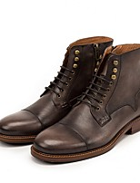 Недорогие -Муж. Армейские ботинки Кожа Наступила зима Ботинки Сапоги до середины икры Коричневый / Темно-серый