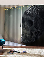 Недорогие -Творческий затемнение пользовательских оконных штор без перфорации черепа и скрещенных костей 3d цифровая печать для гостиной / спальни студия ткани занавес
