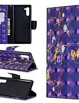 Недорогие -Кейс для Назначение SSamsung Galaxy Galaxy Note 10 / Galaxy Note 10 Plus Кошелек / Бумажник для карт / Защита от удара Чехол Бабочка Кожа PU