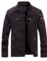 Недорогие -Муж. Повседневные Обычная Куртка, Однотонный Воротник-стойка Длинный рукав Полиуретановая Черный / Военно-зеленный / Коричневый US32 / UK32 / EU40 / US34 / UK34 / EU42 / US36 / UK36 / EU44