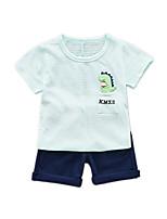 Недорогие -Дети (1-4 лет) Мальчики Классический Мультипликация С принтом С короткими рукавами Обычный Обычная Набор одежды Светло-синий