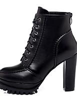 Недорогие -Жен. Ботинки На толстом каблуке Заостренный носок Кожа Ботинки Лето Черный