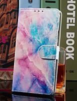 Недорогие -чехол для яблока iphone xr / iphone xs max кошелек / визитница / с подставкой для всего корпуса розово-синий мрамор искусственная кожа для iphone 6s / 6s plus / 7/7 plus / 8/8 plus / x / xs