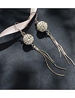Недорогие -100% серебро 925 флэш циркон леди длинные серьги серьги хрустальный шар le2601300