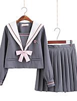 Недорогие -Вдохновлен Косплей Школьницы Аниме Косплэй костюмы Японский Косплей Костюмы / Косплей вершины / дна / Школьная форма Косыночная повязка / Кофты / Юбки Назначение Жен.