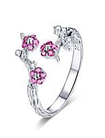Недорогие -100% стерлингового серебра 925 пробы зимние цветущие сливы цветок открытые кольца для женщин свадебные обручальные украшения