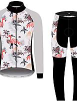 Недорогие -21Grams Фламинго Цветочные ботанический Муж. Длинный рукав Велокофты и лосины - Черный / Белый Велоспорт Наборы одежды С защитой от ветра Устойчивость к УФ Дышащий Виды спорта Зима 100% полиэстер
