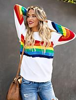 Недорогие -Жен. С принтом Блуза Классический Контрастных цветов Белый