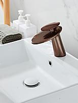 Недорогие -Ванная раковина кран - Водопад Многослойное По центру Одной ручкой одно отверстиеBath Taps