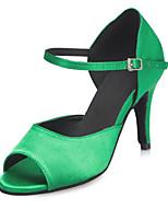 Недорогие -Жен. Сатин Обувь для латины Планка На каблуках Тонкий высокий каблук Персонализируемая Зеленый