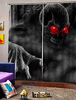 Недорогие -Индивидуальные оригинальные шторы для спальни / гостиной Happy Halloween Тема Red Eye Skull Фон затемненные пользовательские шторы
