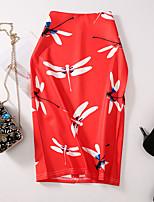 Недорогие -Жен. Облегающий силуэт Подол Цветочный принт С принтом Красный L XL XXL