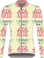Недорогие -21Grams Фламинго Цветочные ботанический Жен. Длинный рукав Велокофты - Желтый Велоспорт Джерси Верхняя часть Устойчивость к УФ Дышащий Влагоотводящие Виды спорта Зима 100% полиэстер / Слабоэластичная