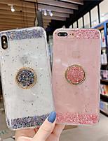 Недорогие -чехол для apple iphone xs max / iphone 8 plus пылезащитный / держатель кольца / полупрозрачная задняя крышка с блестящим тпу для iphone 7/7 plus / 8/6/6 plus / xr / x / xs