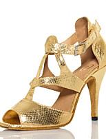 Недорогие -Жен. Танцевальная обувь Полиуретан Обувь для латины Планка На каблуках Тонкий высокий каблук Персонализируемая Золотой / Выступление