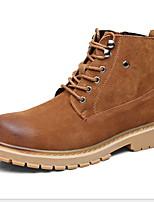 Недорогие -Муж. Армейские ботинки Кожа Лето / Наступила зима Ботинки Сохраняет тепло Сапоги до середины икры Черный / Коричневый / Серый