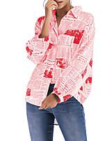 Недорогие -Жен. Рубашка Геометрический принт Черный