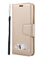 Недорогие -Кейс для Назначение SSamsung Galaxy S9 / A7 / J6 Кошелек / Бумажник для карт / со стендом Чехол Однотонный / Кот / Мультипликация Кожа PU