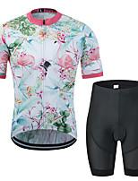 Недорогие -MUBODO Фламинго Цветочные ботанический Муж. С короткими рукавами Велокофты и велошорты - Черный / Белый Велоспорт Наборы одежды Дышащий Влагоотводящие Быстровысыхающий Виды спорта Тюль / Эластичная