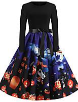Недорогие -Жен. Классический А-силуэт Платье - Контрастных цветов, С принтом До колена