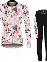 Недорогие -21Grams Фламинго Цветочные ботанический Жен. Длинный рукав Велокофты и лосины - Розовый Велоспорт Наборы одежды Устойчивость к УФ Дышащий Влагоотводящие Виды спорта Зима Спандекс / Слабоэластичная
