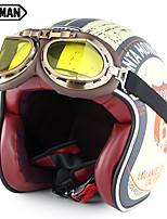 Недорогие -Зоман ретро мотоциклетный шлем с очками с открытым лицом старинные скутеры шлемы точка одобрения sm512
