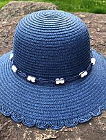 Недорогие -Жен. Активный Классический Симпатичные Стиль Соломенная шляпа Шляпа от солнца Солома,Контрастных цветов Лето Осень Белый Розовый Темно синий