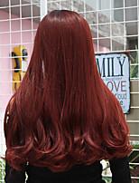 Недорогие -Аксессуары для костюмов Парики из искусственных волос Чёлки Прямой Естественные прямые Стиль Аккуратная челка Без шапочки-основы Парик Черный / Красный Искусственные волосы 26 дюймовый Жен.