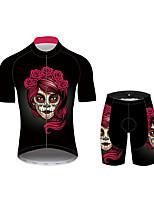 Недорогие -21Grams Сахарный череп Жен. С короткими рукавами Велокофты и велошорты - Черный / красный Велоспорт Наборы одежды Дышащий Влагоотводящие Быстровысыхающий Виды спорта 100% полиэстер Горные велосипеды