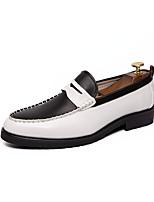 Недорогие -Муж. Кожаные ботинки Наппа Leather Весна лето Мокасины и Свитер Черный / Черно-белый / Черно-белый