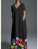 Недорогие -Жен. Богемный Элегантный стиль А-силуэт Платье - Цветочный принт, С принтом Макси