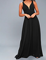 cheap -A-Line Plunging Neck Floor Length Chiffon Formal Evening Dress with Draping by LAN TING Express