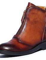 Недорогие -Жен. Ботинки На плоской подошве Круглый носок Кожа Ботинки Наступила зима Черный / Коричневый