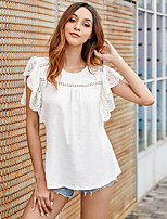 cheap -Women's Blouse Solid Colored Tops Round Neck Cotton Daily Summer White S M L XL
