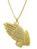 Недорогие -Муж. Ожерелья с подвесками Цепочка длинное ожерелье Длиные руки Массивный Винтаж модный Камни Хром Искусственный бриллиант Золотой 76 cm Ожерелье Бижутерия 1шт Назначение