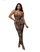 Недорогие -Жен. Облегающий силуэт Платье - Полоски Леопард Макси