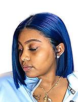 Недорогие -Синтетические кружевные передние парики Прямой Стиль Средняя часть Лента спереди Парик Синий Синий Искусственные волосы 8-10 дюймовый Жен. Регулируется / Жаропрочная / Для вечеринок Синий Парик