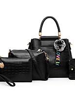 cheap -Women's Zipper PU Bag Set Solid Color 4 Pieces Purse Set Black / Brown / White
