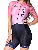 Недорогие -BOESTALK Жен. С короткими рукавами Костюм для триатлона Розовый / черный В полоску Велоспорт Дышащий Влагоотводящие Быстровысыхающий Анатомический дизайн Задний карман Виды спорта Спандекс В полоску