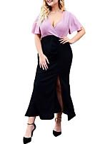 Недорогие -Жен. Классический Облегающий силуэт Платье - Контрастных цветов, С разрезами Пэчворк Средней длины