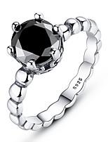Недорогие -серебряное кольцо с черным цирконием женское модное кольцо свадебные украшения