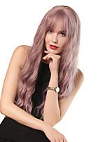 Недорогие -Парики из искусственных волос / Чёлки Кудрявый / Волнистые Стиль Аккуратная челка Без шапочки-основы Парик Фиолетовый Розовый / Фиолетовый Искусственные волосы 26 дюймовый Жен.