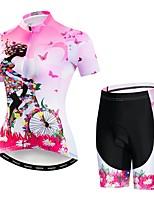 Недорогие -WEIMOSTAR Цветочные ботанический Жен. С короткими рукавами Велокофты и велошорты - Розовый Велоспорт Наборы одежды Дышащий Влагоотводящие Быстровысыхающий Виды спорта Эластан Терилен